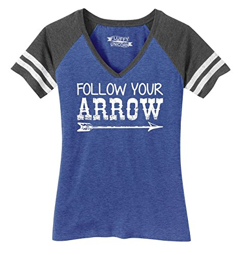 Ladies Game V-Neck Tee Follow Your Arrow Heathered True Royal/Heathered Charcoal M (Arrow T-shirt V-neck)