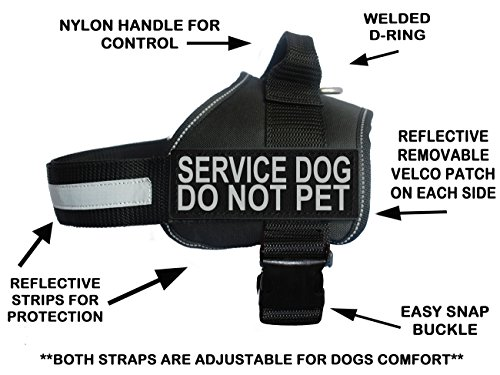 Not Pet Harness - Doggie Stylz Service Dog Harness Vest Comes 2 Reflective Service Dog DO NOT PET Removable Patches. Please Measure Dog Before Ordering