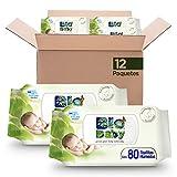 Bio Baby Toallitas Húmeda, 12 paquetes con 80 piezas, 960 toallitas