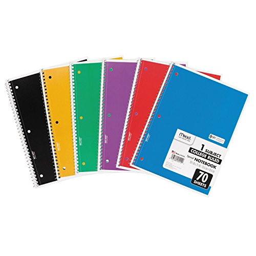Product of Mead Spiral Bound Notebook - College Rule - 8 x 10-1/2 - White - 1 Subject - 70 Sheets/Pad - All Notebooks [Bulk Savings] pack of 6