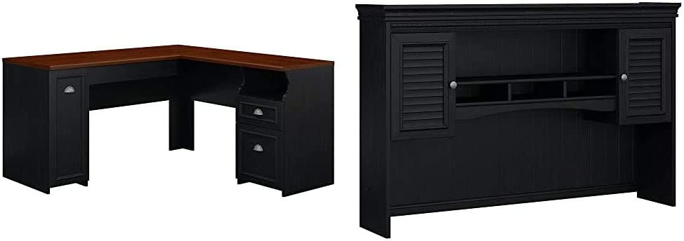 Bush Furniture Fairview L Shaped Desk in Antique Black & Fairview Hutch for L Shaped Desk in Antique Black