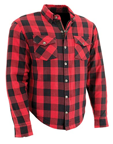 Milwaukee Performance Men's Checkered Flannel Biker Shirt With Aramid (Black/Red, M)