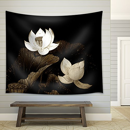 Abstract of Brown Lotus for Background Used Fabric Wall Tapestry