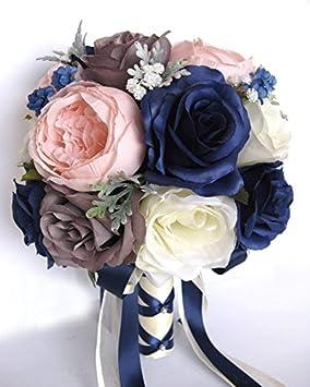Amazon Com 17 Piece Wedding Bouquet Package Bridal Bouquets Silk Flower Bouquet Navy Blue Pink Blush Gray Bridal Flowers Centerpiece Rosesanddreams Home Kitchen