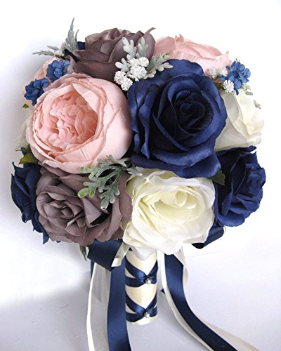 Amazon 17 piece wedding bouquet package bridal bouquets silk 17 piece wedding bouquet package bridal bouquets silk flower bouquet navy blue pink blush gray bridal mightylinksfo