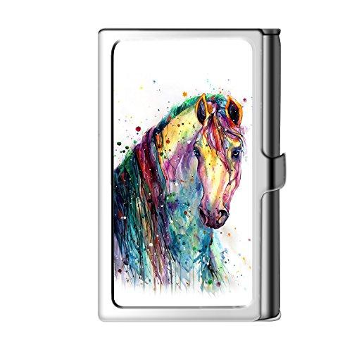 Design Sliver Business Card Holder, Metal Stainless Steel Name Wallet Credit Case For Men & Women-Horse