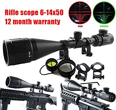 Ledsniper® Brand New Hunting Rifle Scope 6-24x50 AOE Red & Green Illuminated Crosshair Gun Scopes with Free Mounts from Ledsniper®(us seller)