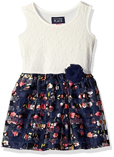 The Children's Place Baby Toddler Girls' Sleeveless Dressy Dresses, Thunder Blue 7519, 4T