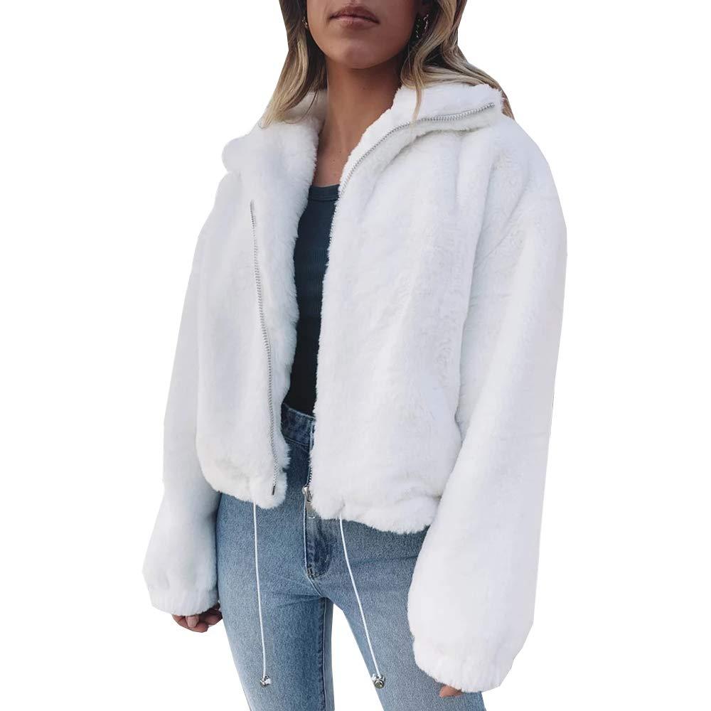 Women's Casual Sherpa Fluffy Fleece Jacket Tops,Long Sleeve Lapel Full Zipper Drawstring Sweatshirt Outwear Coat White by KINGLEN Womens Top