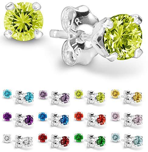 Birthstone Earrings Piercing - Birthstone Stud Earrings 4 mm - 925 Sterling Silver with Cubic Zirconia Crystal - August (Peridot)