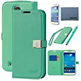 Galaxy S4 Case, By Ailun,Wallet Case,PU Leather Case,Credit Card Holder,Flip Cover Skin[Green]with Screen Protect and Styli Pen