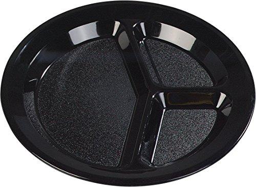 Rim Wide Plates Carlisle (Carlisle PCD21103 Polycarbonate Narrow Rim 3-Compartment Plate, 11
