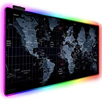 Skeido Gaming Mouse Pad Computer Mousepad Large Mouse Pad Gamer RGB World Map Big Mouse Carpet PC Desk RGB Mat