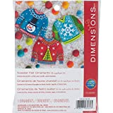 Dimensions 72-08289 Needlecrafts Felt Applique Christmas Sweater Ornament Craft Kit, 3 Pc
