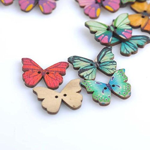 Retro print butterfly wood buttons buttons DIY clothing accessories hand-painted buttons bags accessories for DIY Art Sewing Sew Tailor Clothing Craft