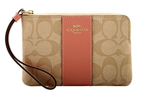 - Coach Signature Corner Zip Wristlet Wallet - Khaki/Vintage Pink