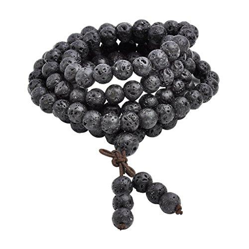 Jovivi 8mm Natural Lava Rock Stone Healing Gemstone 108 Buddhist Prayer Beads Tibetan Mala Bracelet Necklace