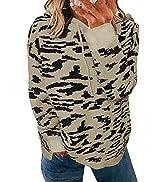 Anloli Womens Sweaters Pullover Leopard Fashion Hoodies Sweatshirts Long Sleeve Tops