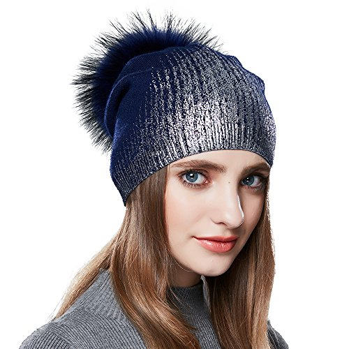 e for Winter Hats Real Fox Fur Slouchy Hat Sparkle Shiny (Sparkle Cap)