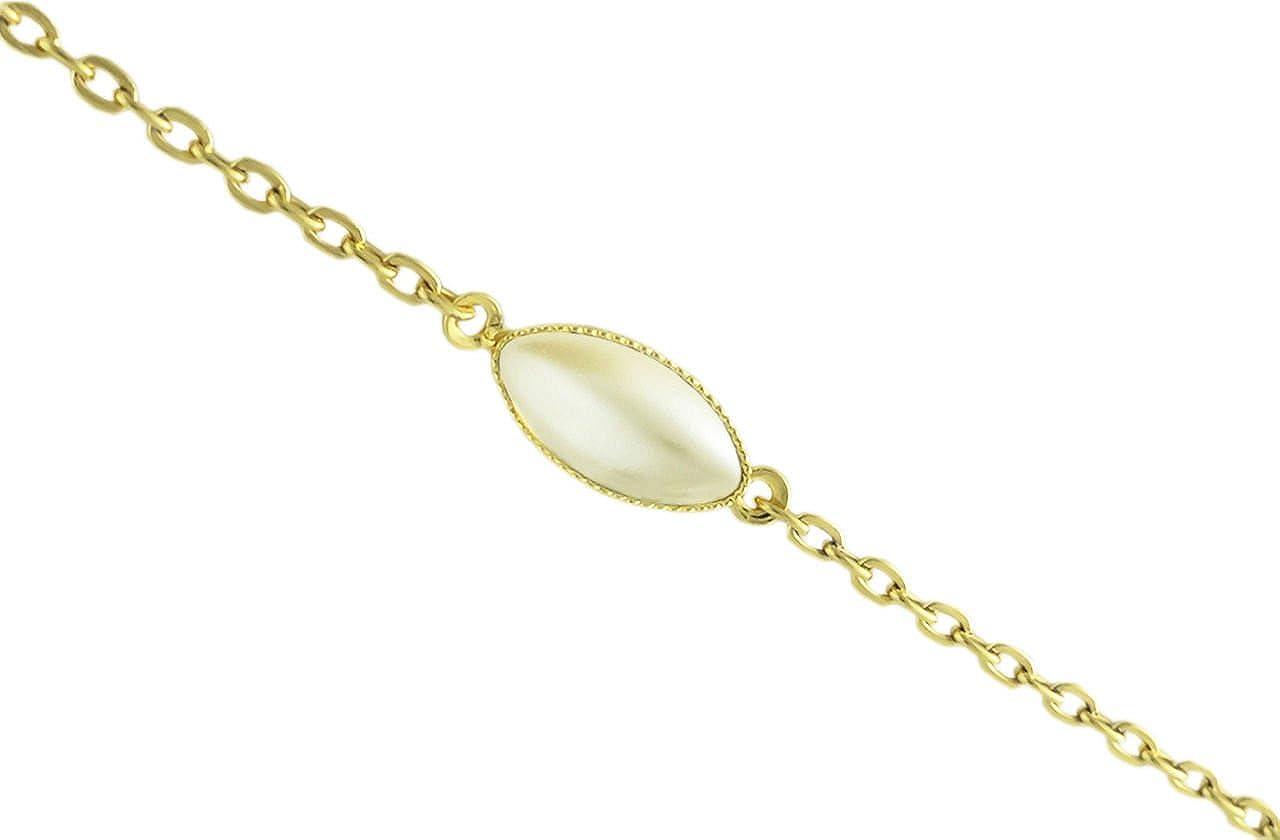 Oro 24K Chapado Oval de Pétalos de Flores Minimalista de la Pulsera de Cadena de 14cm de Crema de Perla de Cristal checo de Piedra hechos a Mano BohemStyle