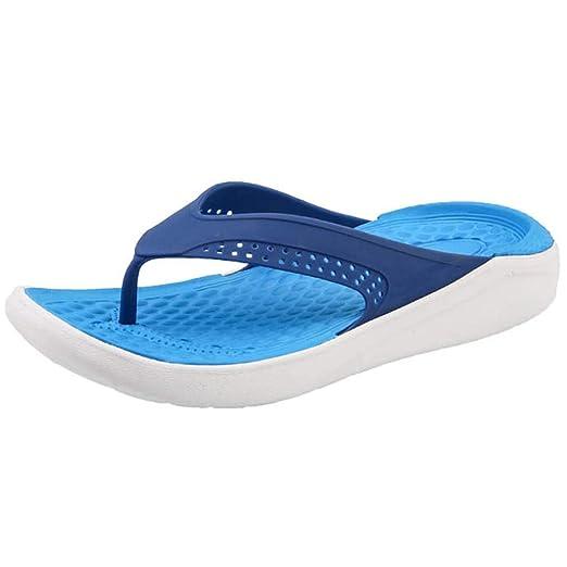 7d6f694b31c32a Corriee Flip Flops for Men Summer Leisure Hollow Out Beach Sandals Men s  Breathable Comfy Shoes Blue