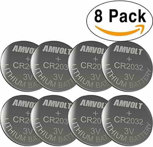 8 Pack AmVolt CR2032 Battery 220mAh 3 Volt Lithium Battery Coin Button Cell 2020 Expiry Date