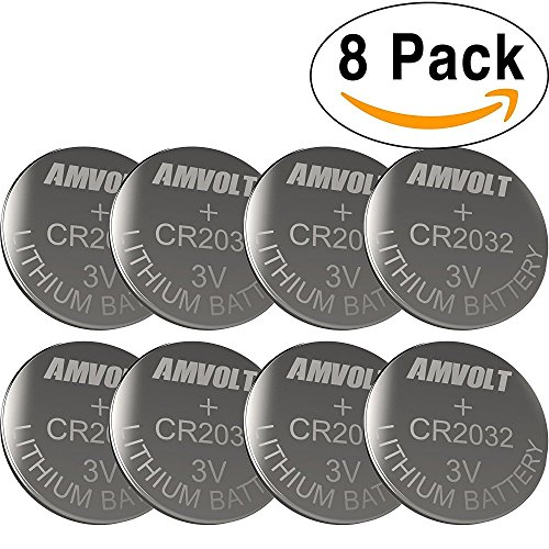 8 Pack AmVolt CR2032 Battery 220mAh 3 Volt Lithium Battery Coin Button Cell 2020 Expiry (Cr2032 Cell)