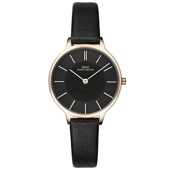 IBSO Women Fashion Simple Watch Ultra-Thin Retro Quartz Analog Leather Strap Ladies Wristwatch (