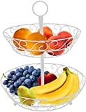 Sorbus 2-Tier Countertop Fruit Basket Holder & Decorative Bowl Stand—Perfect for Fruit, Vegetables, Snacks, Household Items, and Much More (White)