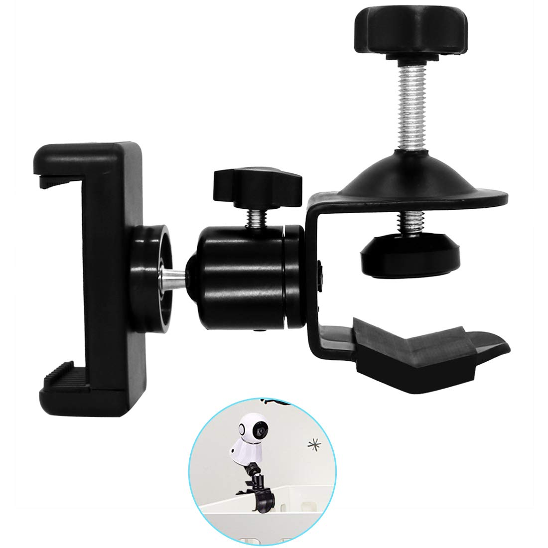 Baby Camera Monitor Mount Bracket 360 Degrees Adjustable Holder Flexible Camera Stand for Crib Nursery Compatible with Most Baby Monitors
