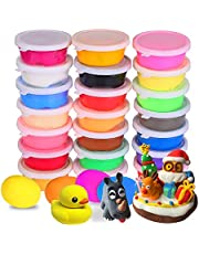 24 Colors Air Dry Clay Ultra Light Modeling Soft Clay Set with Modeling Tools and Project, No-Sticky and Non-Toxic Best DIY Educational Creative Gift for Kids