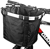 BESUNTEK Bike Basket, Foldable Small Pet Cat Dog Carrier Front Removable Bicycle Handlebar Basket Quick Release Easy Install Detachable Cycling Bag Mountain Picnic Shopping