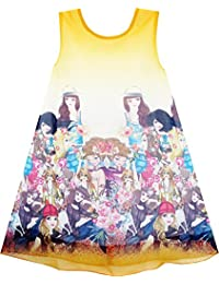 Sunny Fashion Girls Dress Tank Modern People Figure Print Blue
