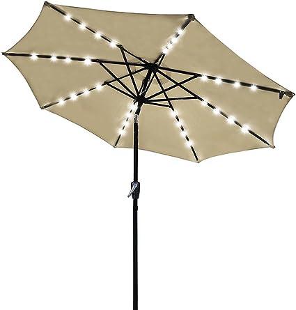 Amazon Com Yescom 9ft 32 Solar Powered Led Light Outdoor Patio Umbrella With 8 Rib Crank Tilt For Table Market Beach Pool Cafe Deck Garden Outdoor