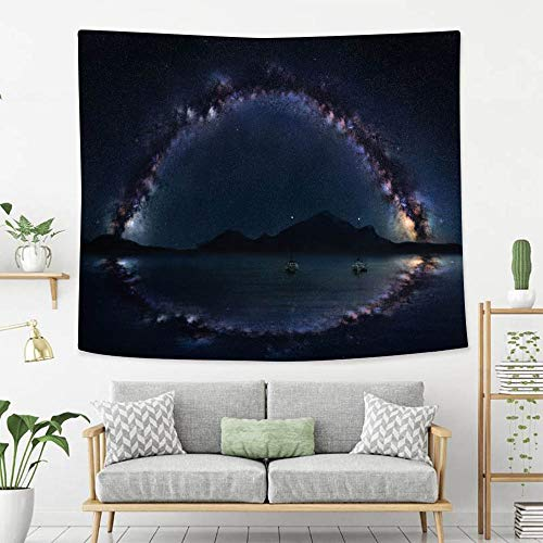 BEIVIVI Colorful Art Design Tapestry Milky Way Panorama on The Open sea with Two Lonely Boats Astro Night Photography Polyester Fabric Tapestries for Bedroom Living Room Dorm - Way Milky Panorama