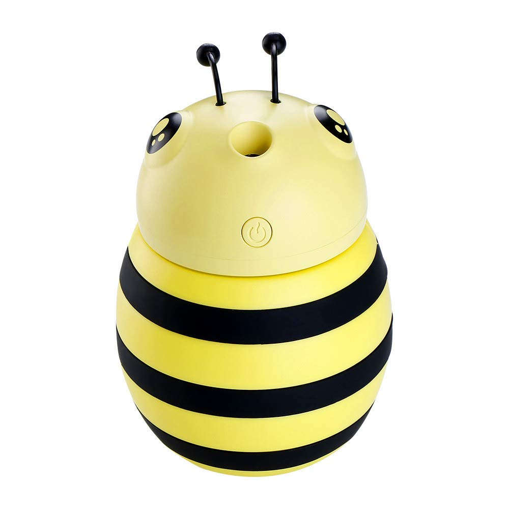 Hot Sales Little Bee Humidifier!!!Kacowpper 30ml Lamp Humidifier Cute Little Bee LED Humidifier Air Diffuser Purifier Atomizer Best Air Purify Tools for Hot Weather