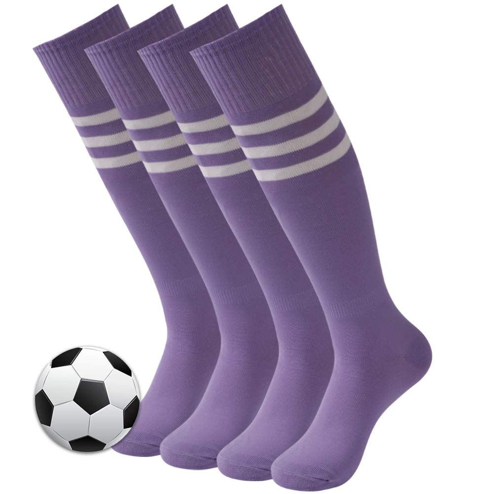 3street Sport Soccer Socks, Adult Comfortable Arch Compression Support Wicking Moisture Athletic Knee High Over Calf Volleyball Baseball Basketball Football Team Socks Medium Purple 4 Pairs by Three street