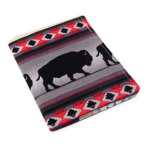 Handmade Credit Card Wallet - Slim Minimalist Design, Buffalo Fabric, Also Holds ()
