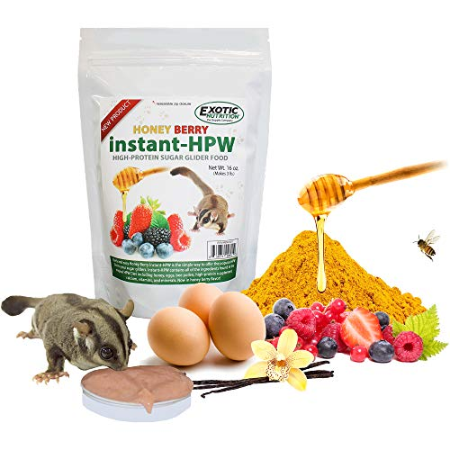 Exotic Nutrition Honey Berry Instant-HPW (2 lb.) - High Protein Healthy Natural No Mess Powder Food Mix for Sugar Gliders - High Protein Wombaroo Diet