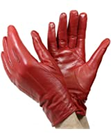 Isotoner A22817 Women's Lined Leather Gloves Red Size 7