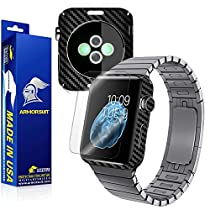 ArmorSuit MilitaryShield - Apple Watch 42mm Screen Protector [Full Screen Coverage] + Black Carbon Fiber Full Body Skin Protector / Front Anti-Bubble Ultra HD & Touch Responsive Shield with Lifetime Replacements