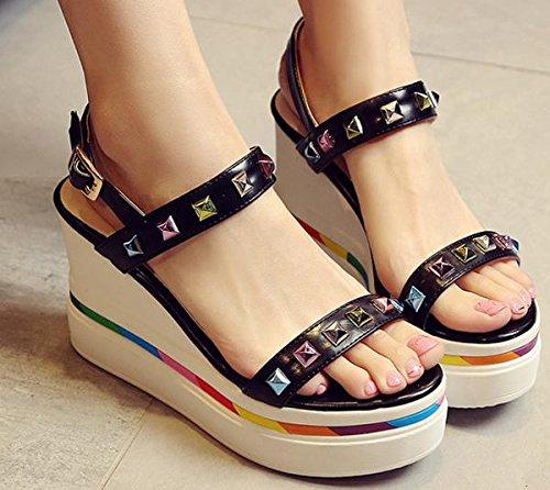 Laruise Women's Platform Wedge Sandal Black RdRcqKk