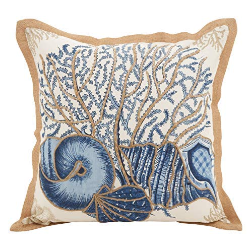 Fennco Styles Home Décor Sea-Inspired Space Decorative Down Filled 100% Cotton Throw Pillow - 20