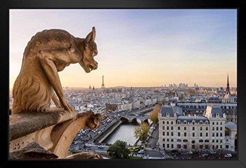 Notre Dame Framed Art - Notre Dame Cathedral Gargoyle Paris Panoramic Photo Art Print Framed Poster 20x14 inch