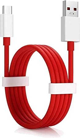 Pacificdeals Type C Dash Charging USB Data Cable for OnePlus Devices   White/Red Data Cables