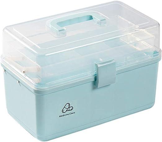 Caja para botiquín doméstico de teca, tamaño grande, 3 niveles, portátil, para primeros auxilios, botiquín doméstico, PP, azul, XL: Amazon.es: Hogar