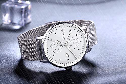 10a252673d MINI FOCUS 腕時計 メンズ 薄型 ビジネスカジュアル クォーツ アナログ 防水 ステンレス オシャレ シンプル 日付 ファッション 男性