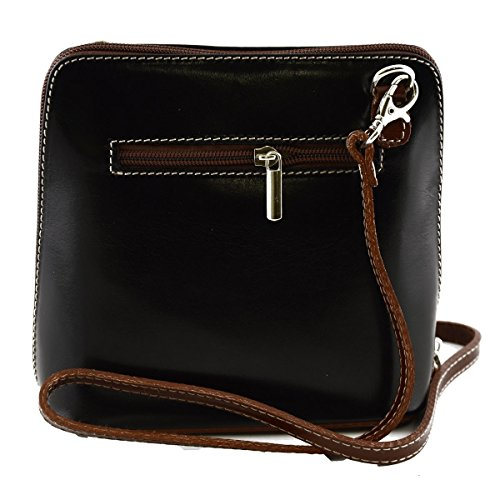 Borsa Donna A Tracolla In Pelle Colore Nero Marrone - Pelletteria Toscana Made In Italy - Borsa Donna