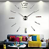 Alrens(TM)Luxury Time Letters Numbers Non-ticking Quartz 3D Large Acrylic Mirror Effect Wall Clock Living Room Sofa Background Meeting Room Décor DIY Wall Sticker Decor House Ornaments Decal Art For Sale