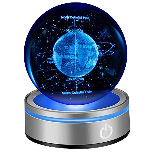 IFOLAINA 3D Earth Crystal Ball 80mm 3.15″ Laser Engraved Education Tool Decoration Ball in Home and Office Gift for Birthday Kids Astronomy Enthusiast